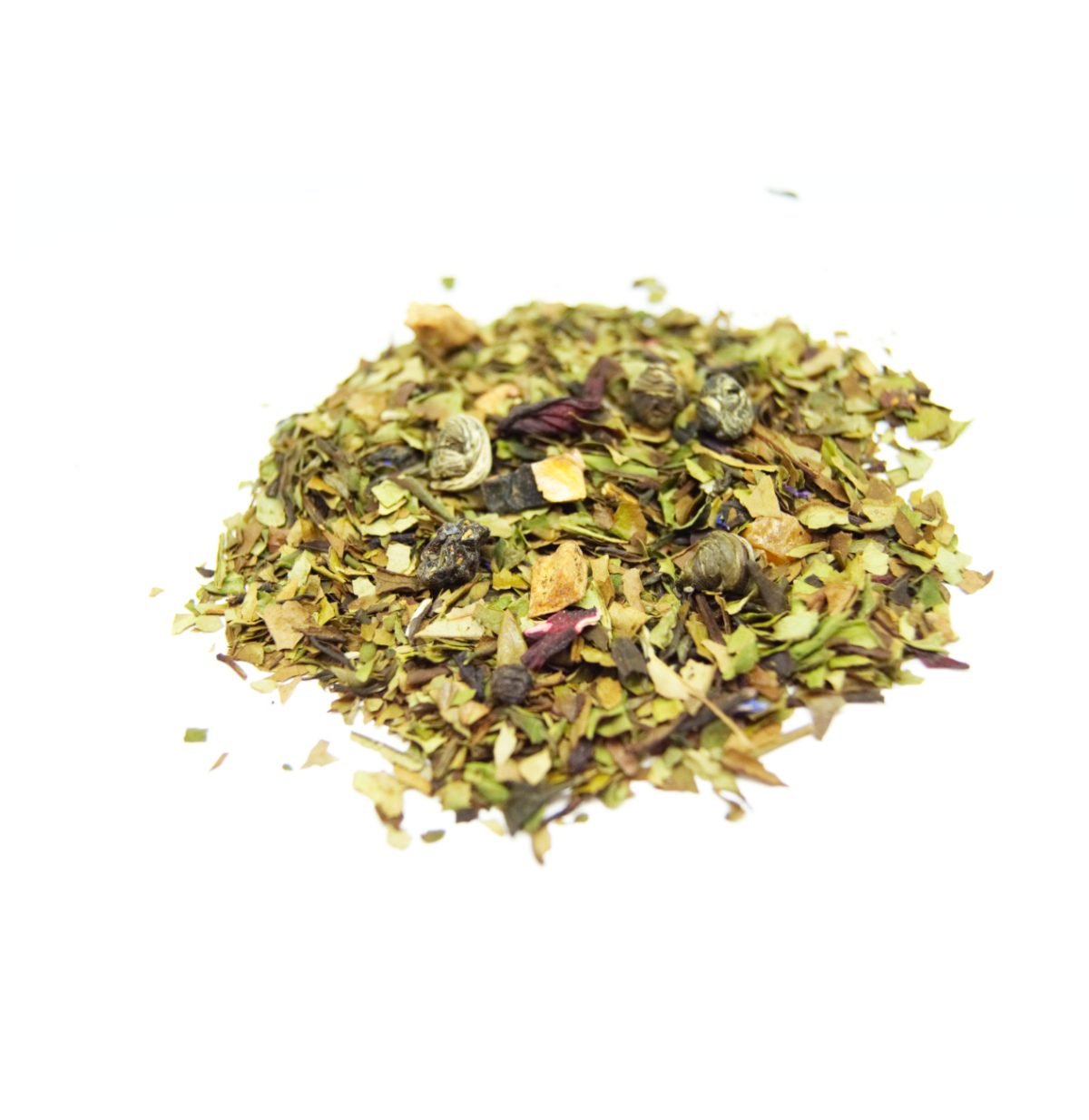 Eventide White Tea We have combined a Pai Mu Tan Chinese White Tea (Chinese White with 2 leaves) with a Chinese Jasmine Pearl , Peach and Strawberry.