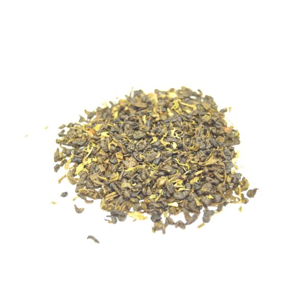 Moroccan Mint A beautiful tight rolled gunpowder green tea with organic spearmint leaves....wonderful with chocolate milk.