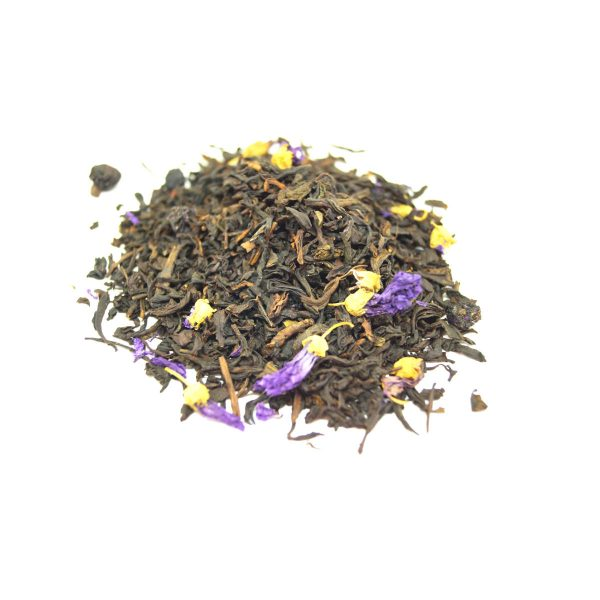 Muffin Mix Black Tea This combination of black teas paired with freeze dried bits of organic Blueberries and Cornflowers.