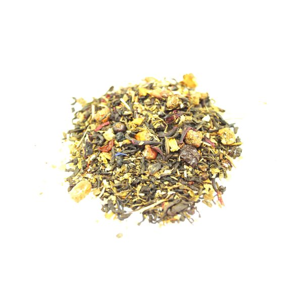 Starberry Delite Green Tea - In this blend we added naturally sweet pieces of Dried Raspberry, Blueberry and Raisin.  Plus we poppes some color with Rose.