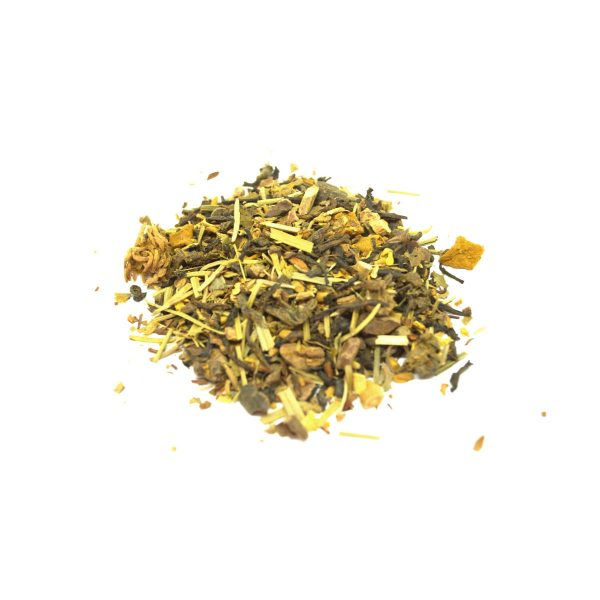 Chinese Sencha Green Tea with Freeze Dried Strawberry and Mango, Marshmallow Root, Couch Grass, Sarsaparilla, Dandelion Root, Wakame Flakes and Uva Ursi