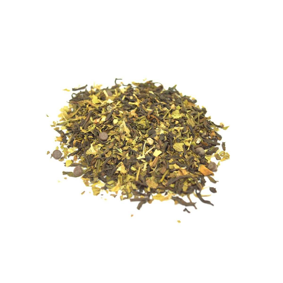 Peppermint Patty Pu-erh Tea with Pieces of Cacao and Chocolate Bits, Peppermint Leaf and will help with Sugar Cravings, Water Weight and Exercise Recovery.