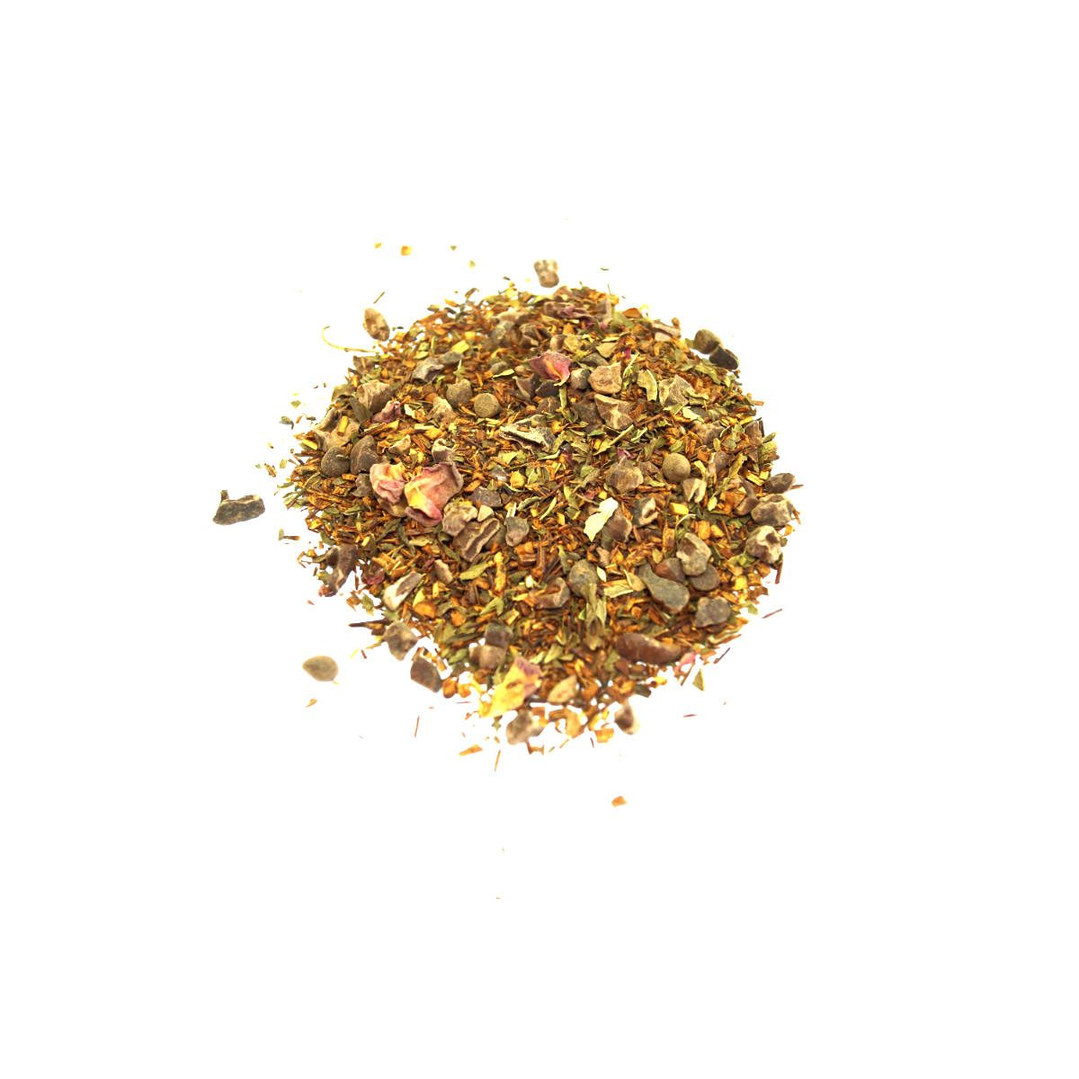 Mint Julep Rooibos Tea with Peppermint Leaf, Cacao Nibs, and Rose Petals. Caffeine Free and mimics a great Mint Julep Drink!