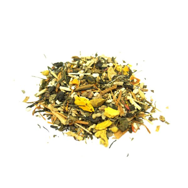 Gyokuro Green Tea with trawberries, Ginkgo, Turmeric, Ashwagandha, Chamomile and Ginseng.