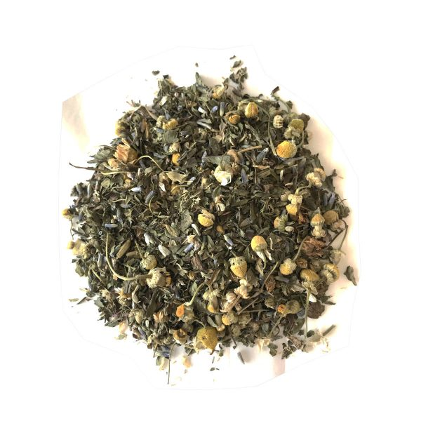 Chillax Tisane Tea made with Spices of Chamomile, Lavender, Spearmint and Stevia Leaf.