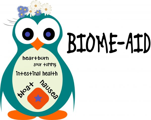 Trade Mark Name of Biome Aid that is a 6oz bottle of ready to drink tea for upset stomach or bloat
