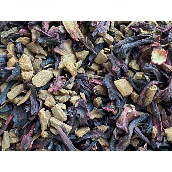 Cinnbiscus Herbal Tea Caffeine Free Blend with large pieces of Cinnamon, Hibiscus and ORange Peel