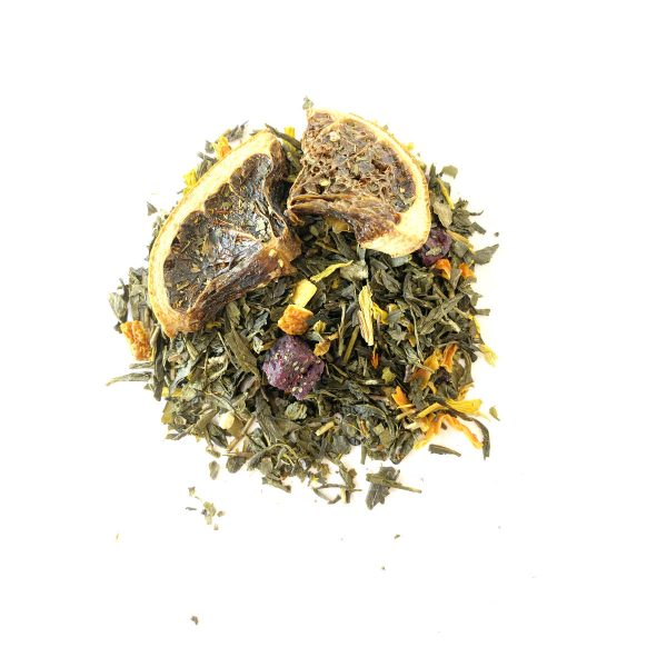 Winterberry Green Tea with Dragonwell Green, Strawberries, Lemon, Orange, Papaya and Hibiscus is our new Winter tea. So it is limited!
