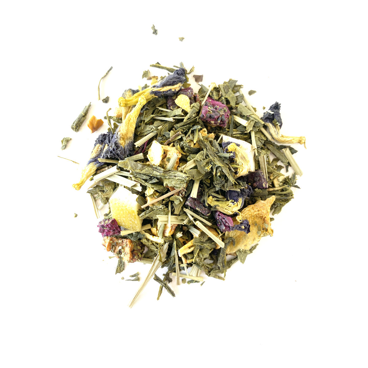 Melon Love Green Tea Chinese Sencha Green Tea with freeze dried Sour Apple, Dragon Fruit, Pomelo, Melon, Watermelon and Pea Flowers.