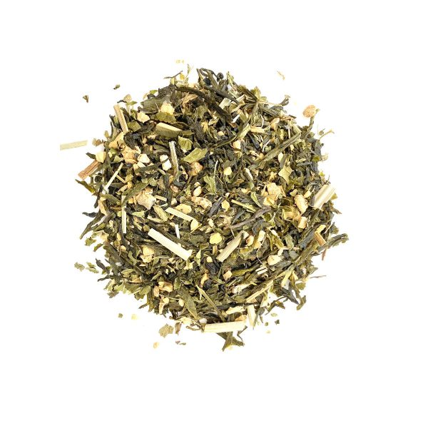 Mojito Green Tea Chinese Sencha Green Tea with a structured leaf and mild taste paired with Dried Lime, Spearmint Leaf, Lemongrass and Ginger Pieces.