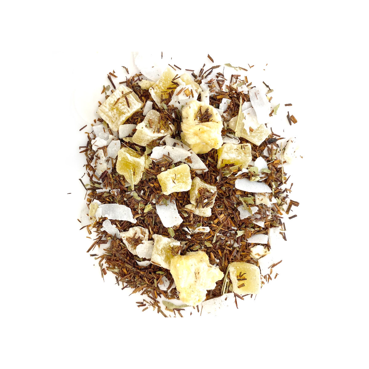 Pineapple Upside Down Cake Rooibos Red Rooibos with two types of Pineapple - Freeze Dried and Dried.with Vanilla Essential oil and large flakes of Coconut.