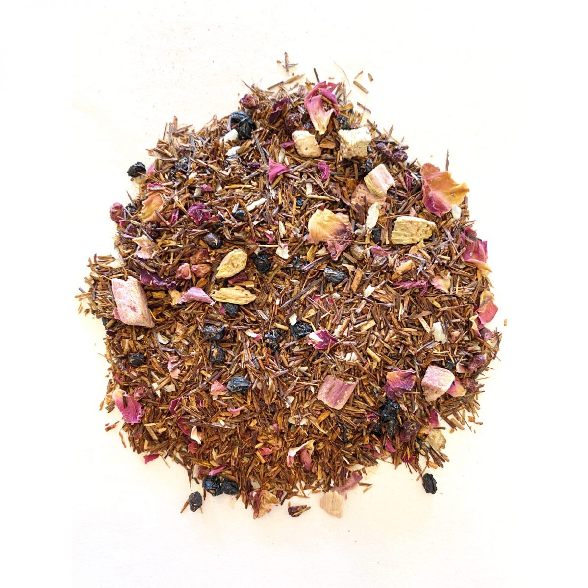 Rhubarb Raspberry Rooibos Tea from Cedarburg Province in South Africa with Freeze Dried Rhubarb, Freeze Dried Raspberry and Vanilla Essential Oil.