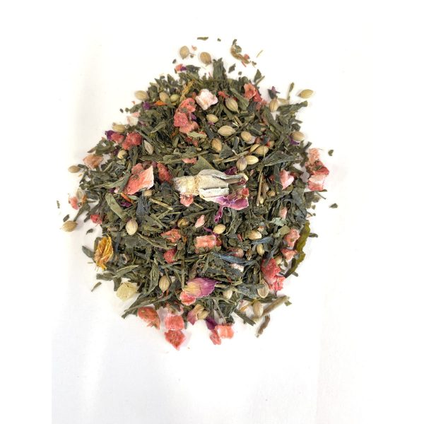 olstice Green Tea Chinese Sencha Green Tea with a structured leaf and mild taste paired with Pineapple, Papaya, Strawberry and Coriander.