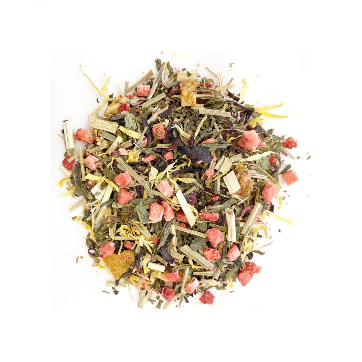 Strawberry Sunrise Green Tea Chinese Sencha Green with Freeze Dried Strawberry to the tartness of Lemon Grass and Lemon Peel.