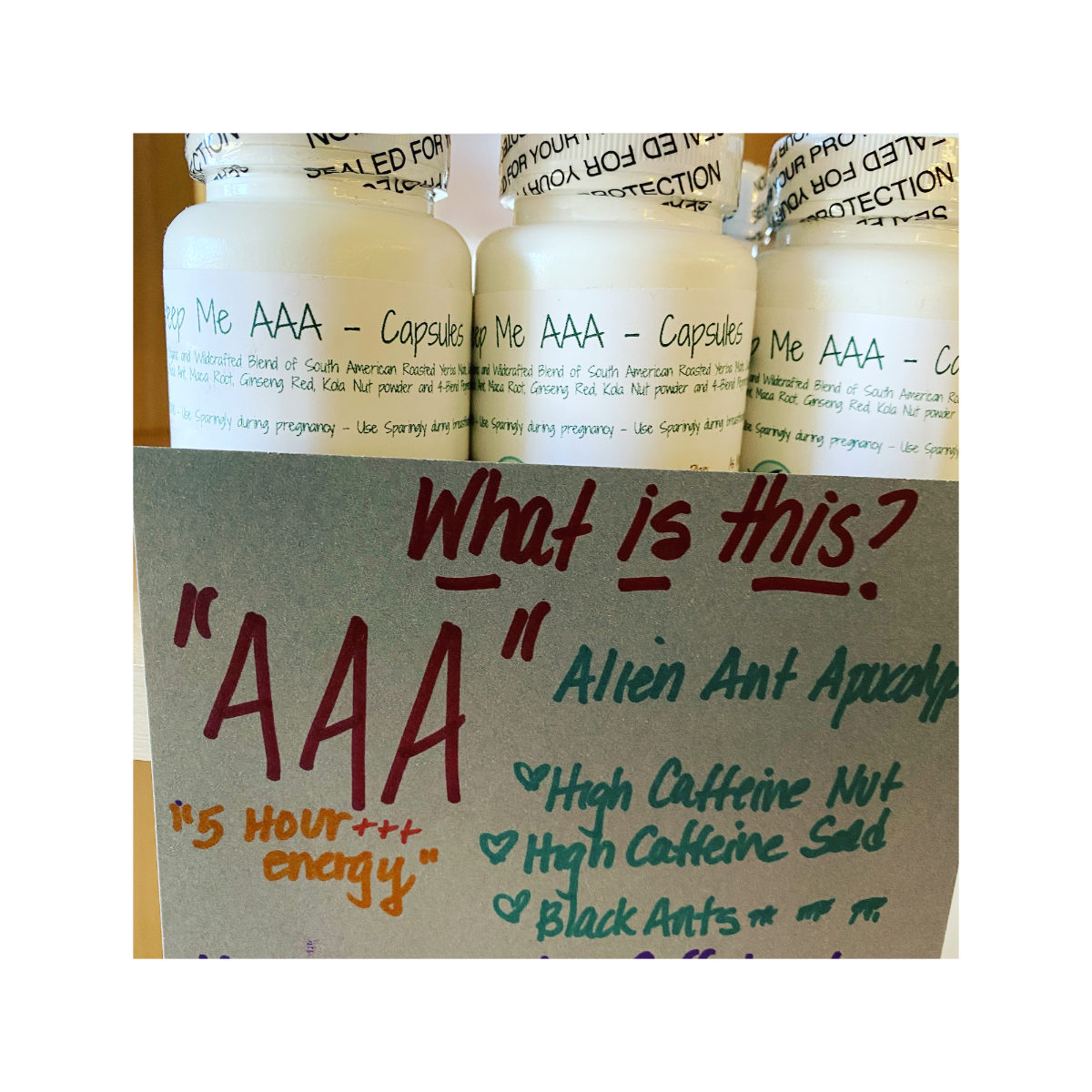 Alien Ant Apocalypse (AAA) Capsules blend is a high caffeine blend that gives energy and mental clarity and can be felt immediately.