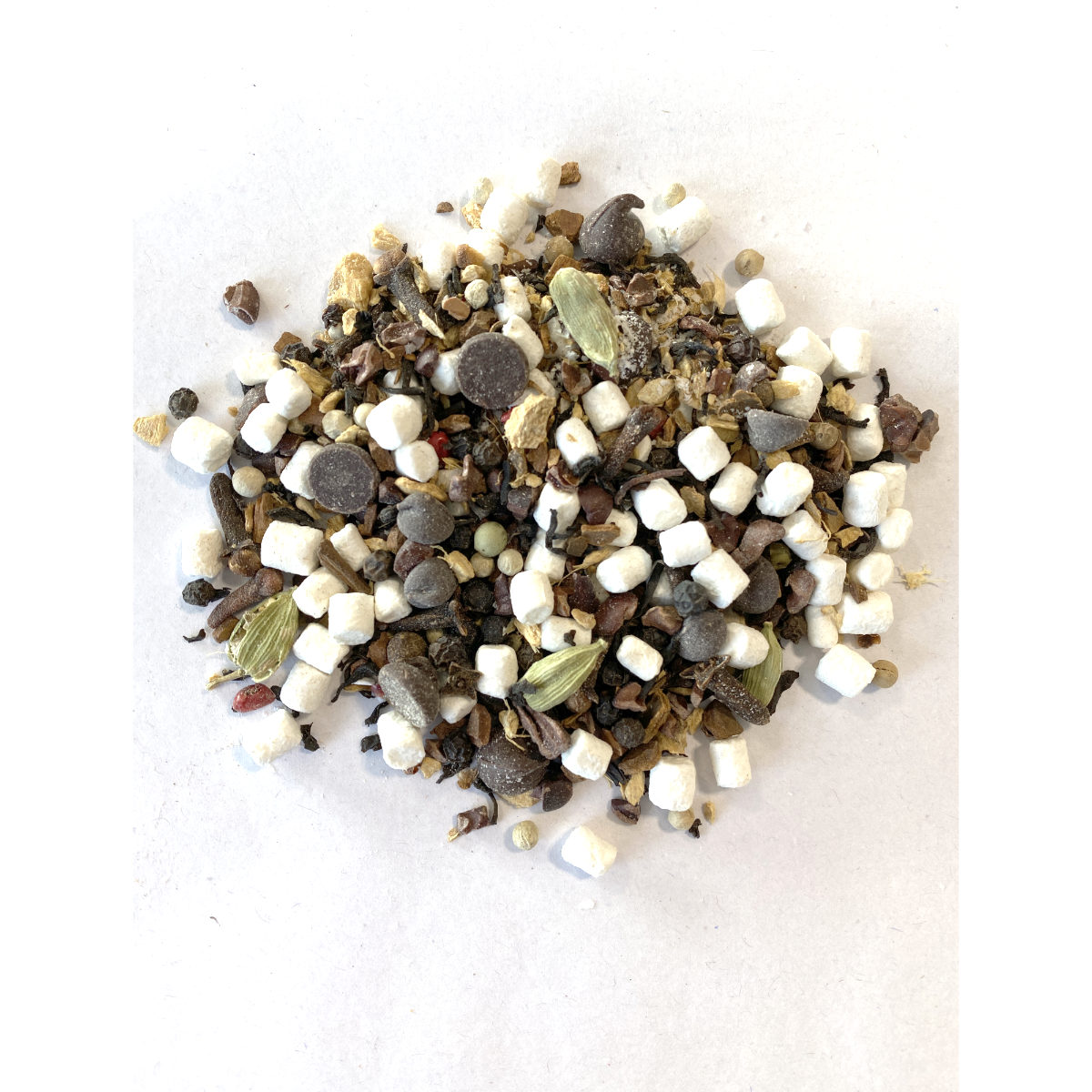 S'mores Chai best fall chai ever!!! Bits of Chai Spices, Bits of Cacao and Bits of Marshmallow...just top with a sprinkle of graham cracker!