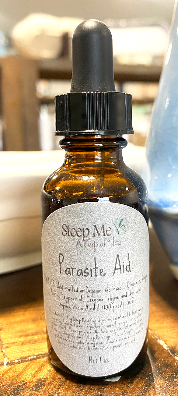 Parasite Aid Tincture been blended into a tincture helps with any Parasite you may come into contact with.