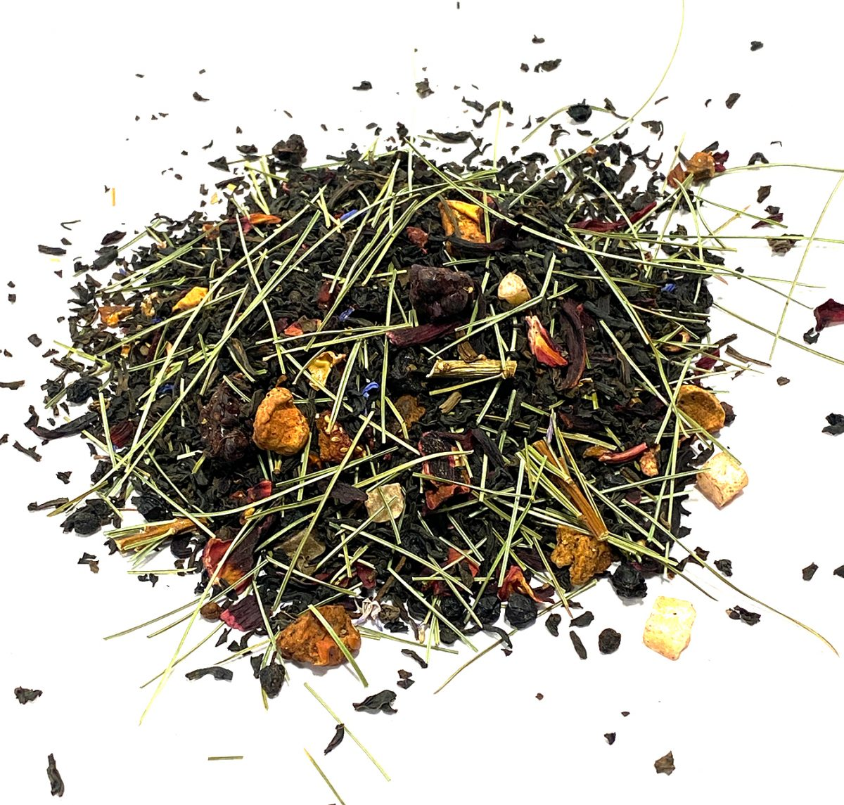 Pine Berry Forest Black Decaf with Pine Needles and thirteen different berries with Cinnamon and Hibiscus blended to Perfection.